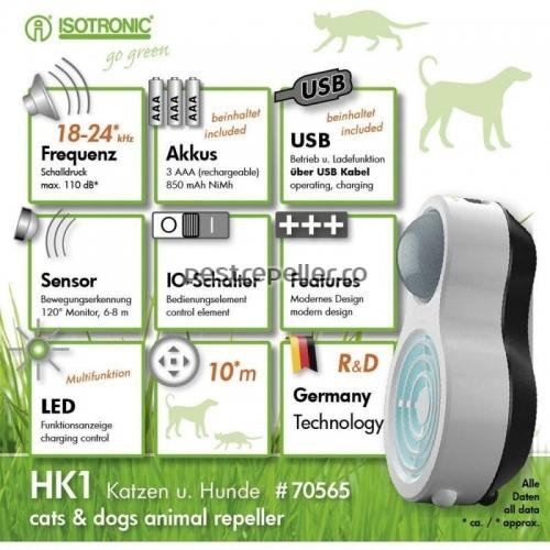 Aparat anti caini pisici cu ultrasunete portabil HK1 70565